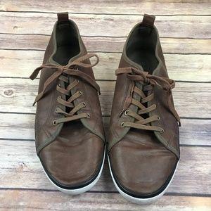 H&M Men's Brown Faux Leather Lace Up Tennis Shoes